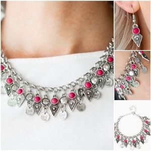 JURASSIC Pink Necklace, Earrings and Bracelet